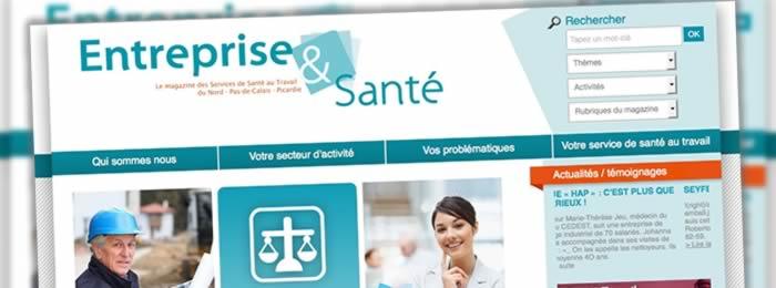 Développement du site web Entreprise et Santé. Publication automatisée du magazine print