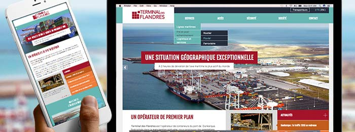 Développement et publication du site web de Terminal des Flandres à Dunkerque